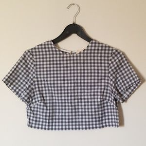 Amour Vert gingham crop top size small